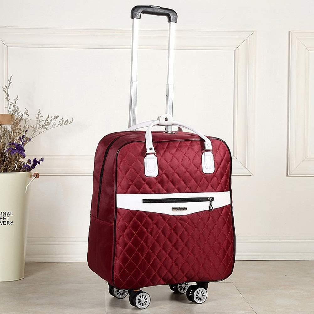 Color : Dark red, Size : L Travel Bags Boarding Package Small 4 Rounds Lingge Trolley Case Luggage Suitcases Carry On Hand Luggage Durable Hold Tingting