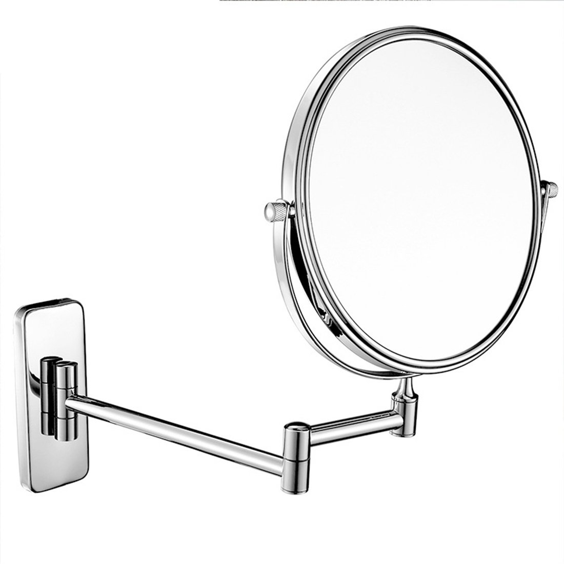 Ysayc Makeup Mirror Wall Mounted Double-sided Magnifying Extending Round Rotatory Bath Spa Hotel Table Beauty Chrome Finished Vanity Mirror Gift, 8 inch