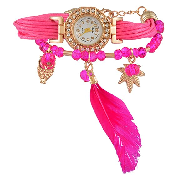 c2fdebe793043e MJARTORIA Damen Boho Feder Armbanduhr Elegant mit Strass Charms Damenuhr  Analog Quarz Uhr Für Mädchen Rosa
