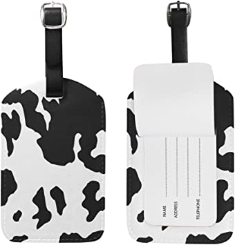 2 Pack Luggage Tags Cow Handbag Tag For Suitcase Bag Accessories
