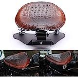 Crocodile Leather Motocycle Bobber Solo Seat Spring Base Plate Bracket Kit For Harley Sportster XL 883 1200 48 (Brown-Crocodi