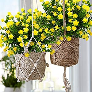 YISNUO Artificial Flowers, Fake Outdoor UV Resistant Plants Faux Plastic Greenery Shrubs Indoor Outside Hanging Planter Home Kitchen Office Wedding, Garden Decor(Yellow) 3