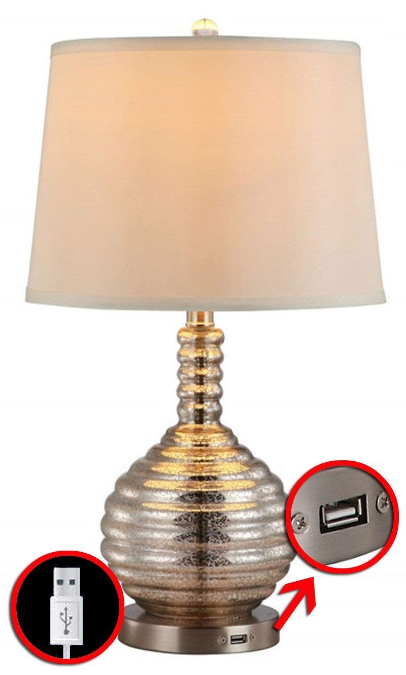 Rely-A-Light Emergency Home Lamp with USB Function with Mercury Glass and Linen Shade