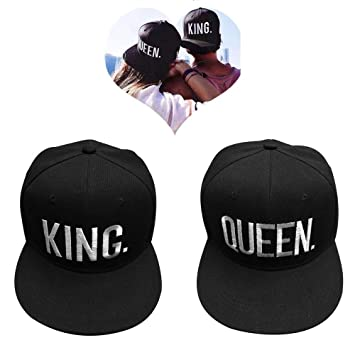 EQLEF Baseball Cap For Lovers Couple QUEEN And KING -Black (type1 ... 1e5aa697238