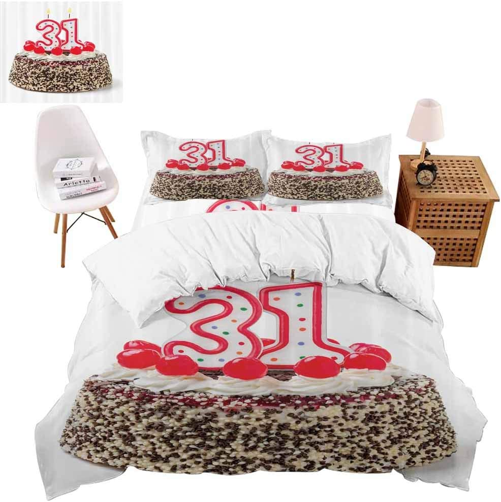 vroselv-home Christmas Bedding 4 Piece Duvet Cover, Thirty One Candles Bedding Set Cute Quilt Cover for Girls/Boys Gift - Queen Size/NO Comforter