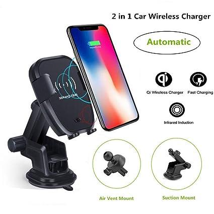 Amazon.com: Cargador de coche inalámbrico Qi de carga rápida ...