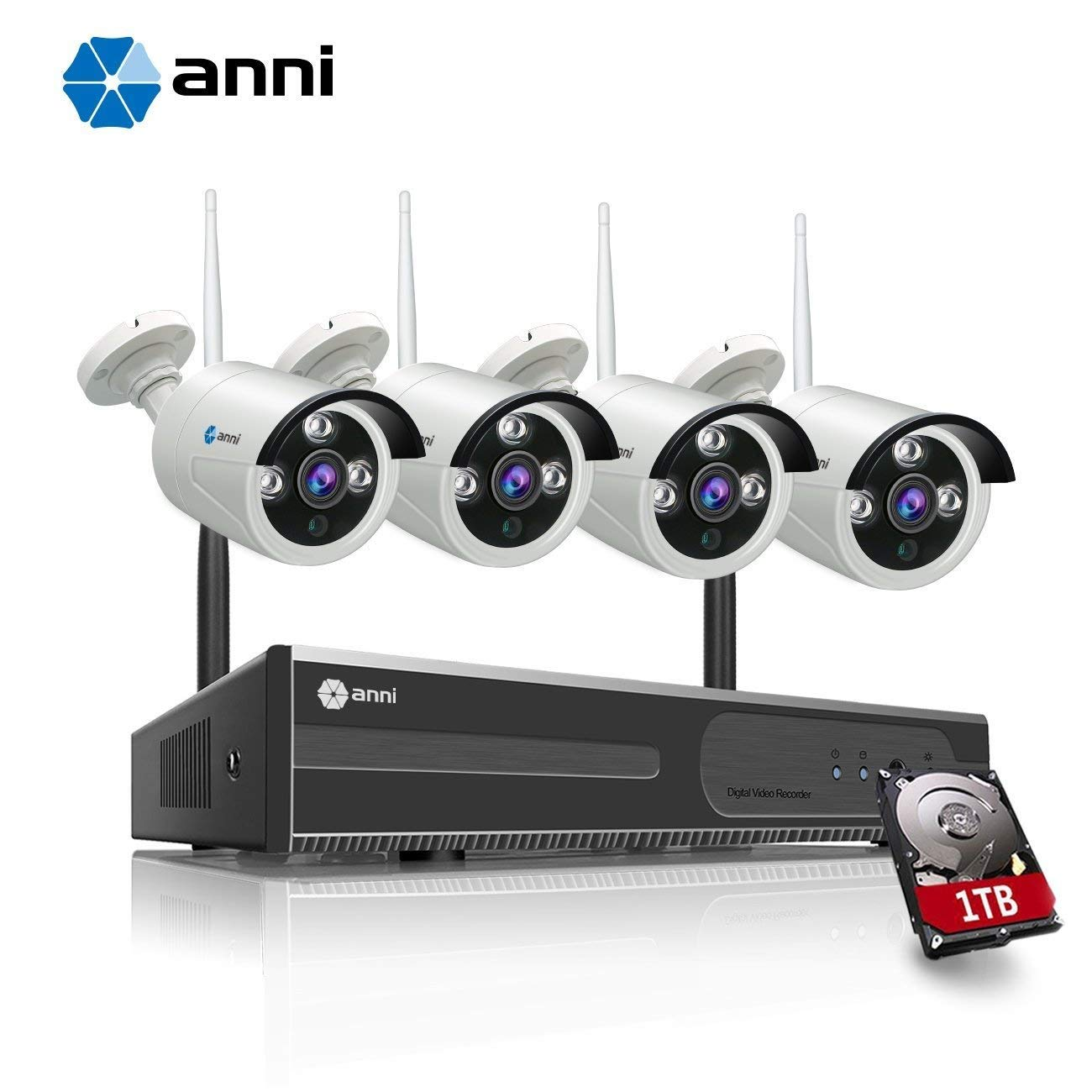 anni 4CH 720P AHD Wireless Security Surveillance Camera, WiFi NVR Kit and (4) 1.0MP Megapixel Wireless Indoor Outdoor Bullet IP Cameras, P2P, 65ft Night Vision with 1TB Hard Drive