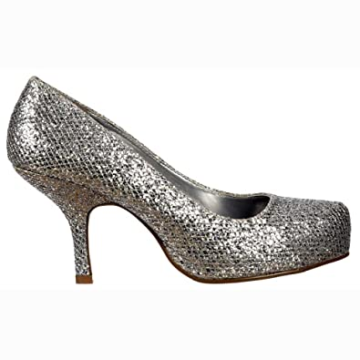 Amazon.com | Onlineshoe Women's Low Kitten Heel Court Pump Silver ...