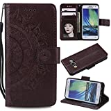 Galaxy A3 2015 Floral Wallet Case,Galaxy A3 2015 Strap Flip Case,Leecase Embossed Totem Flower Design Pu Leather Bookstyle Stand Flip Case for Samsung Galaxy A3 2015-Brown
