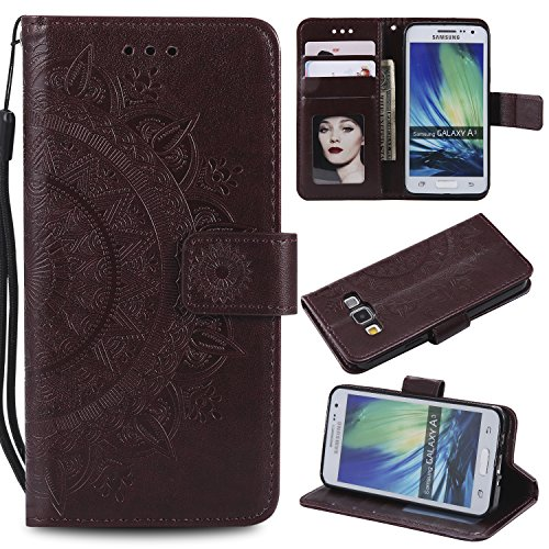 Galaxy A3 2015 Floral Wallet Case,Galaxy A3 2015 Strap Flip Case,Leecase Embossed Totem Flower Design Pu Leather Bookstyle Stand Flip Case for Samsung Galaxy A3 2015-Brown by Leecase