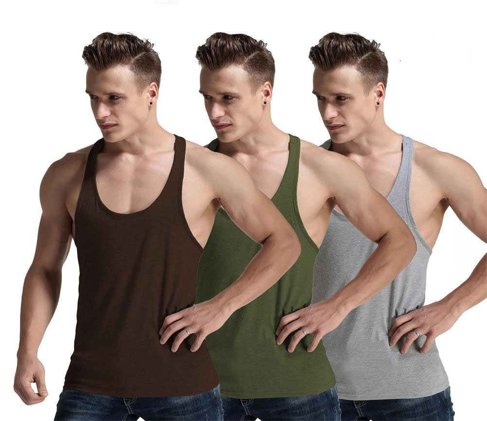 Men Fashion Blank Stringer Y Back Cotton Gym Sleeveless Shirts Tank Top (S, ArmyGreen/Grey/Coffee)