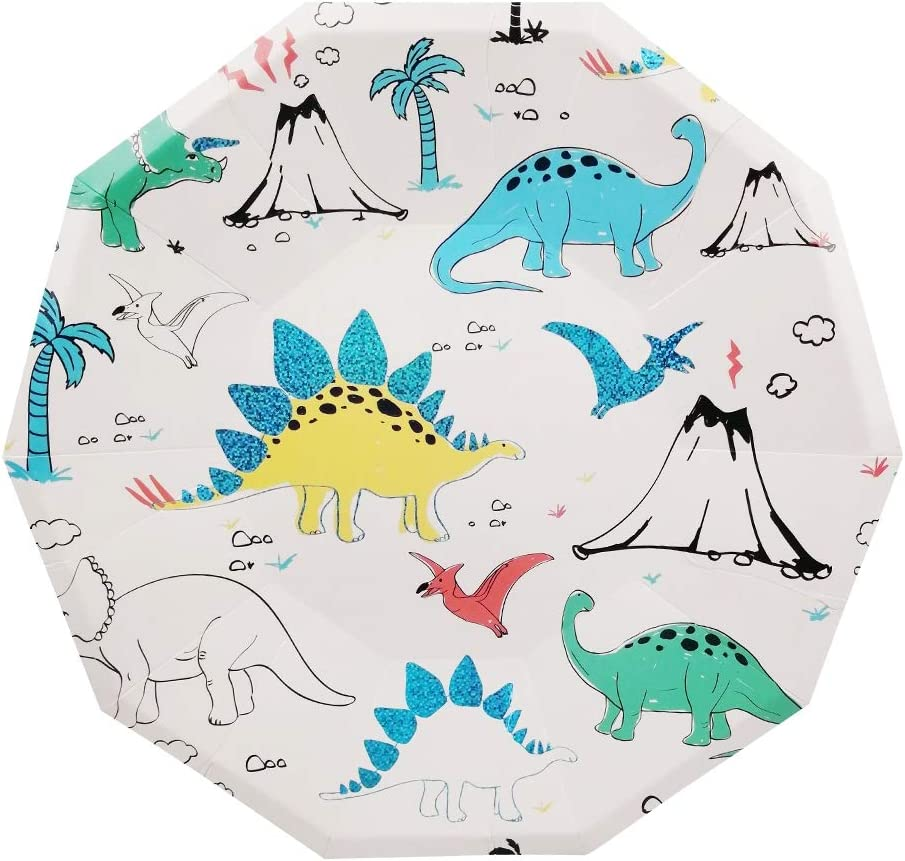 Cieovo 24 Count Disposable Plates Dinosaur Party Paper Plates for Dinner Dessert - Baby Shower/Kids Birthday Dinosaur Themed Themed Party Decoration Supplies