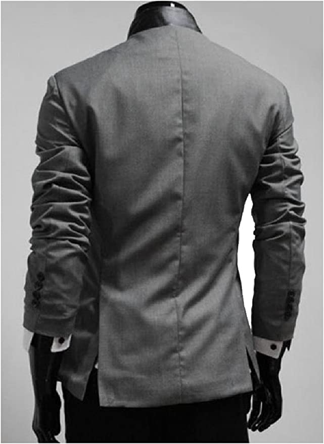 Nicelly Mens Long Sleeve Cardi Ruffle Solid Color Lapel Collar Work Shirt