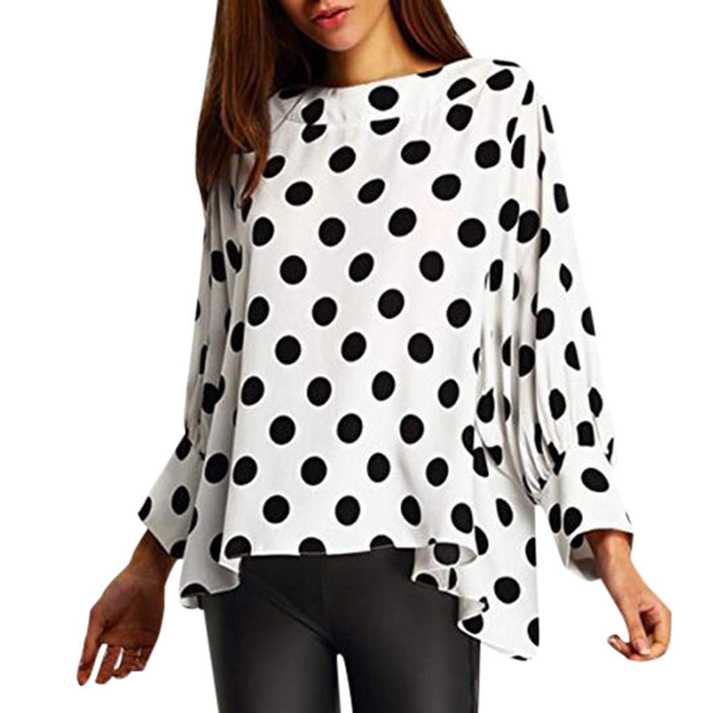 WWricotta Womens Tops Casual Long Sleeve Dot Printed Sweatshirt Loose Pullover Blouse