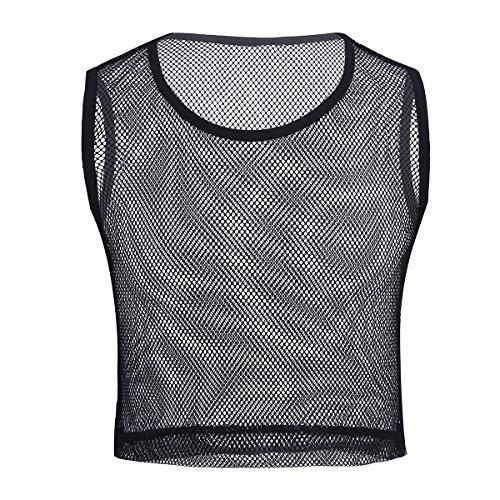 MSemis Men's Mesh Sheer Crop Top Wetlook Leather Muscle Tank Vest T-Shirt Undershirts Clubwear Black Large