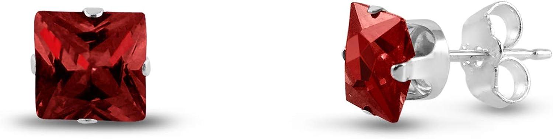 Kezef 5 x 5 mm cuadrado rojo con circonitas granate, 925 Broche de plata de ley Juego de pendientes de tuerca