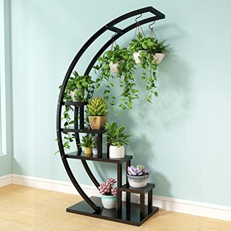 Puesto de Flores 5 Nivel Planta Metal carros Creativo Plataforma Media Luna Forma de Escalera Flor de Soporte del pote Estante for el hogar del césped Jardín Balcón Holder (Color : Black):