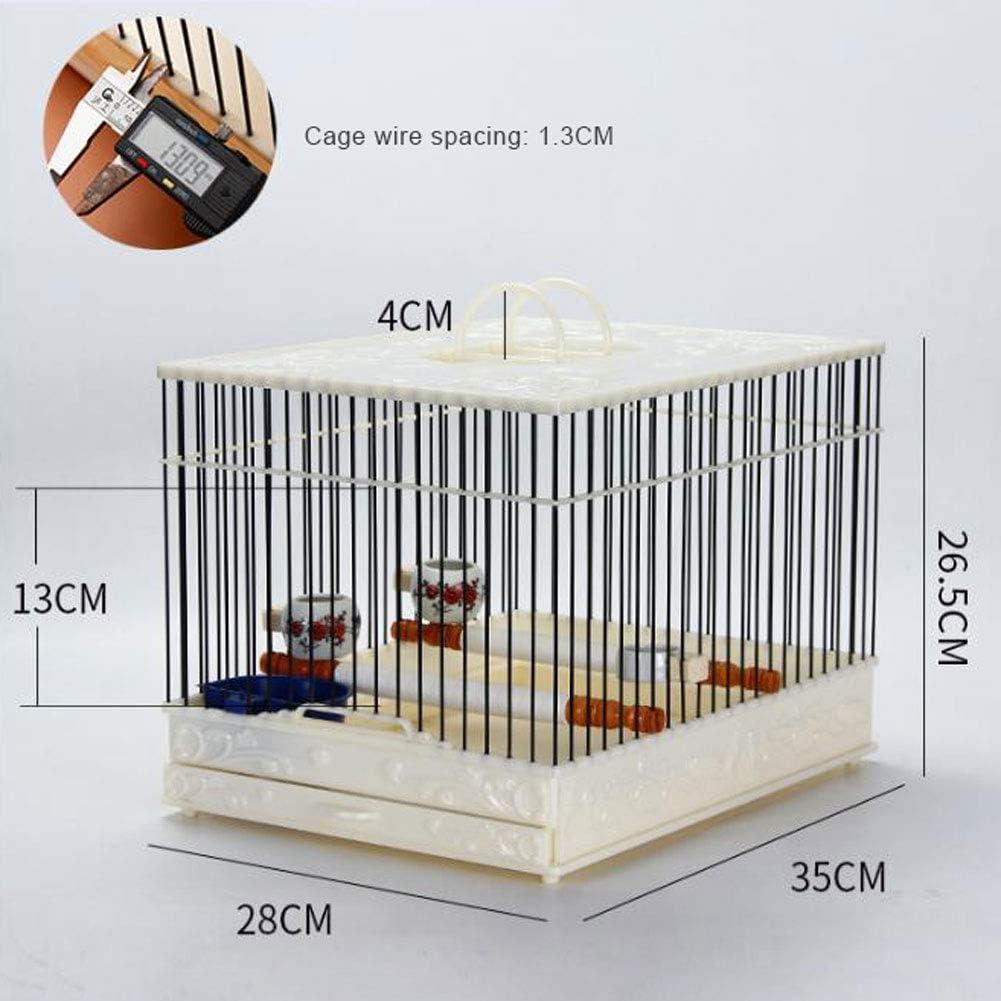 LTLHXM Jaula de Gran Pajaros Capacidad con Poste de Pie y Bañera 28 * 35 * 26.5Cm Fracasado Jaula para Pájaros Alambre de Jaula de Acero Plástico Cajón Inferior Extraíble para Interior O Exterior