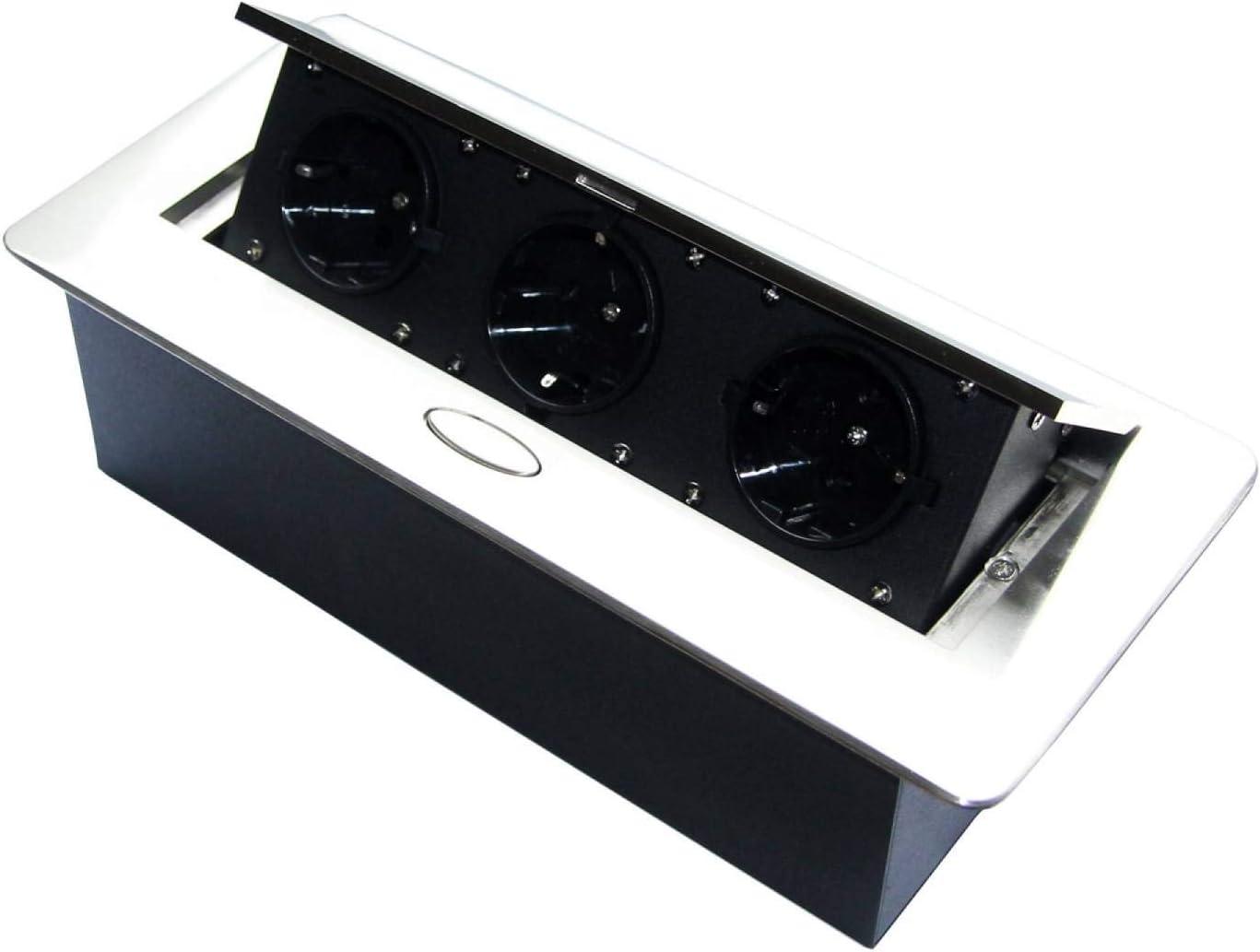 Toma de corriente retráctil para cocina y oficina con apertura suave - Ideal para encimera, como toma de mesa o toma de suelo - Inyección de aluminio con tres elementos de toma |