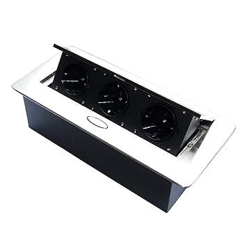 Versenkbare Steckdose für Küche und Büro mit Softöffnung – Ideal für  Arbeitsplatte, als Tischsteckdose oder Bodensteckdose – Aluminium  Spritzguss mit ...