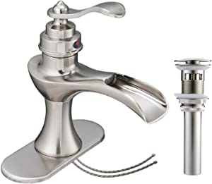Homevacious Waterfall Bathroom Faucet Brushed Nickel Sink Single Hole with Pop Up Drain Assembly Basin Vanity Mixer Tap One Handle Satin Lavatory with Overflow Supply Line Lead-Free