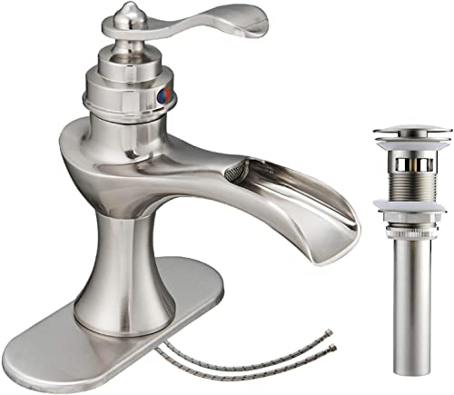 Bathlavish Waterfall Bathroom Faucet Brushed Nickel Sink Single Hole Vanity with Pop Up Drain Assembly Satin Lavatory One Handle with Overflow Supply Line Lead-Free
