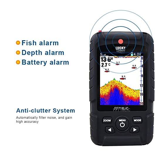 ICE/Ocean/Boat Fish Finder Alarm Fish Finder Rechargeable Wireless Fish Finder Sonar Russian Language Sensor Waterproof LCD for Fishing