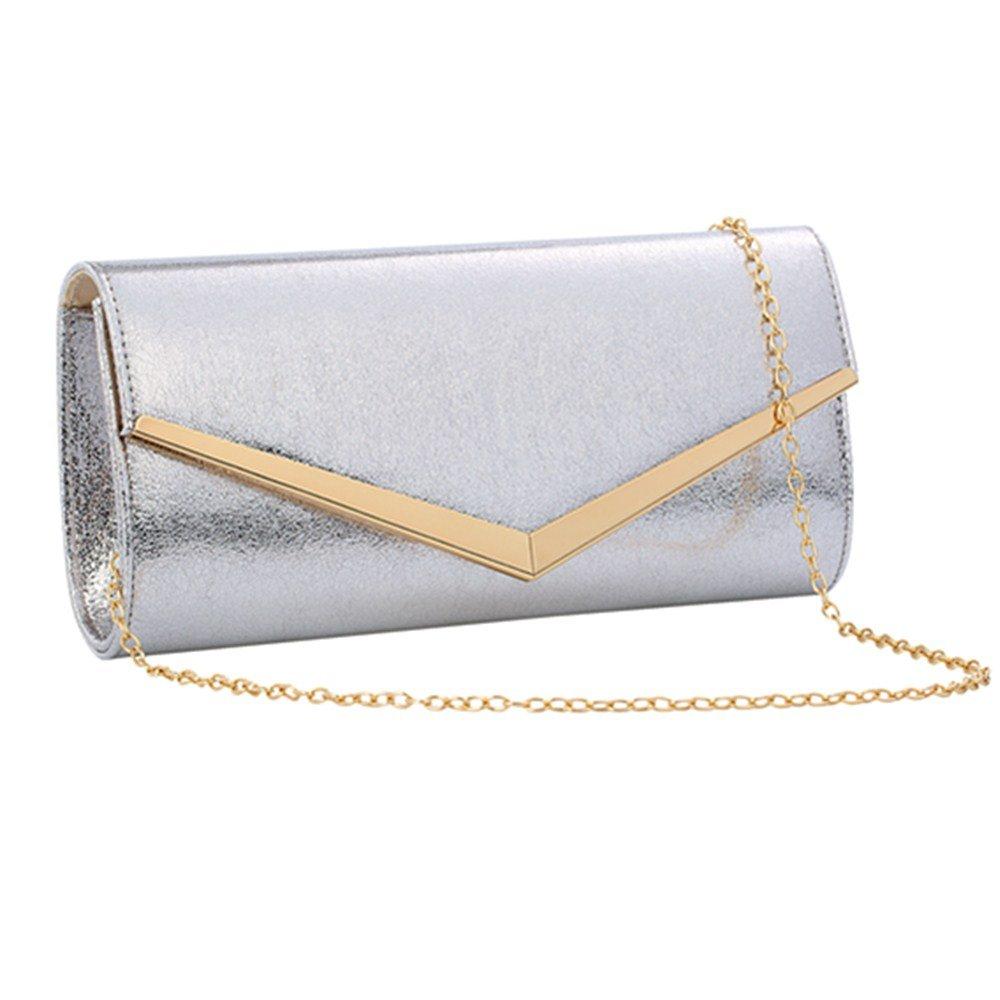 Women Evening Party Clutch Bags Bridal Wedding Purse (Silver)