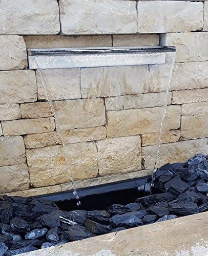 CLGarden® Wasserfall Set mit Pumpe LED Beleuchtung für Wand Mauer Gabione Teich