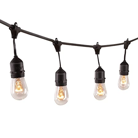 Sheoolor 48 Feet Outdoor String Lights Weatherproof Commercial Grade Outdoor Lights With 24 Hanging Sockets Perfect For Patio Party Garden Porch