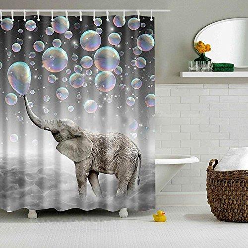 Deco Elephant Art (Jineams Air Bubbles Elephant Shower Curtains Art Deco Polyester Fabric Bath & Shower Curtain Set Hook, 72 inches Extra Long)
