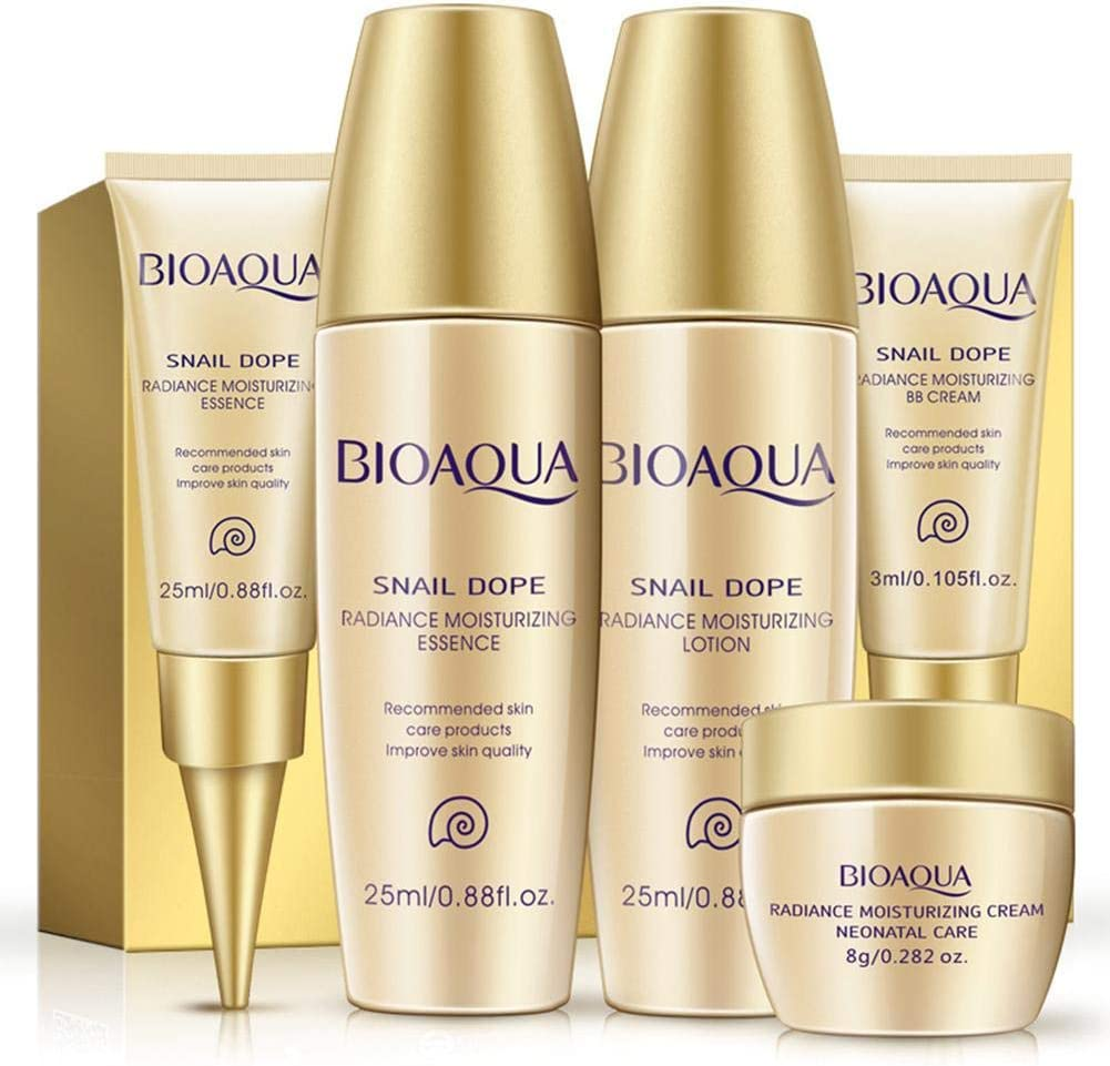 Snail Extract Skin Care 5 Pieces Sets Whitening Deep Moisturizing Hydrating Anti Aging Wrinkle Treatment Firming Beauty Face Cream Facial Essence Bright Gift Box Set Sample Travel Liquid Oil Control