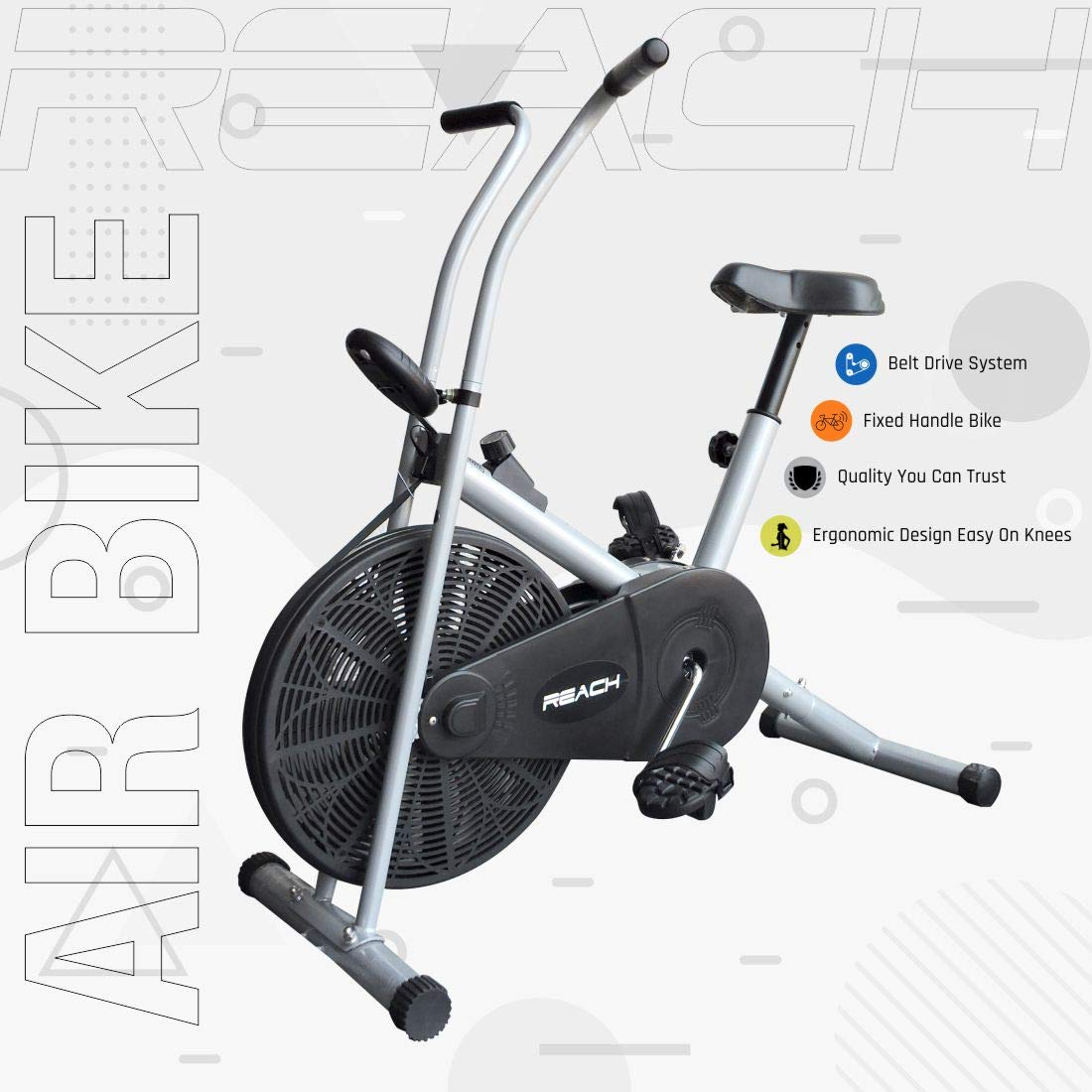 Reach Air Bike Exercise Home Gym Cycle Cardio Fitness Machine for Weight Loss