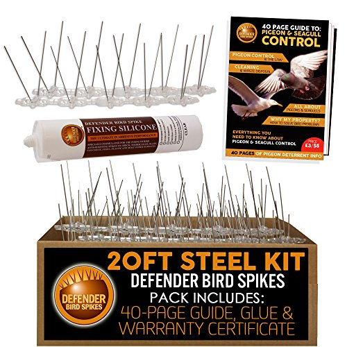 Defender Stainless Steel Pigeon Spikes Kit | 20 Feet with Glue | Bird Control Guide | Various Size Kits