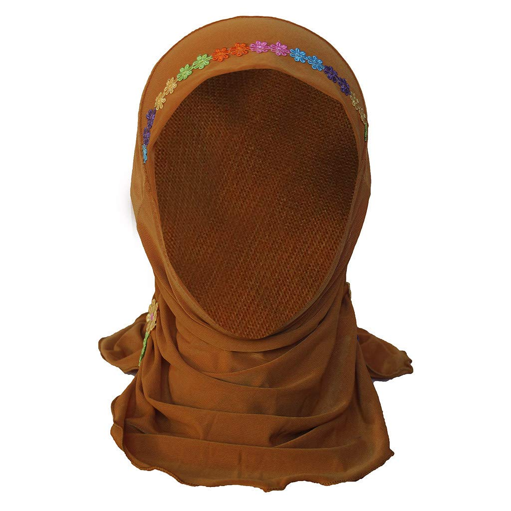 Muslim Hijab Kopftuch M/ädchen Muslim Kopftuch 0-8 Jahre Kinder Hijabs Stickerei Turban Hijab Kopft/ücher Schal Hut Kopfbedeckung Saingace TM