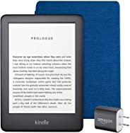 Kindle Essentials Bundle including All-new Kindle, now with a built-in front light, Black - with Special Offers, Kindle Fabri