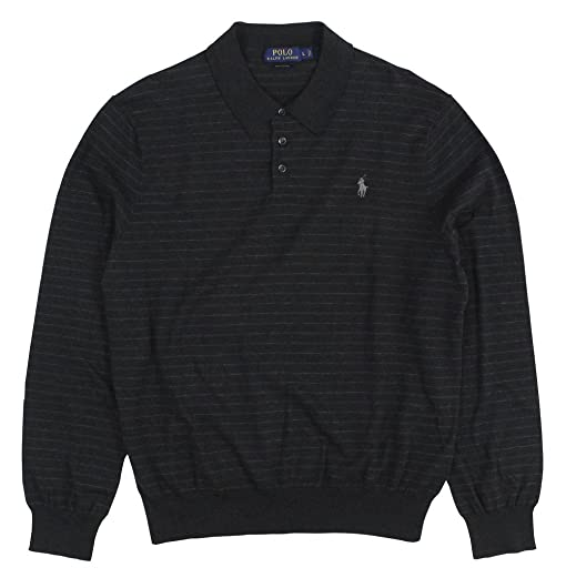 Polo Ralph Lauren Men\u0027s Collared Pima Sweater Large Charcoal Heather