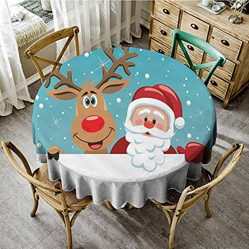 (DONEECKL Round Tablecloth Santa Cute Rudolph Deer and Santa Claus Greeting The New Year Happily in Cartoon Style Easy to Clean D63 Multicolor)