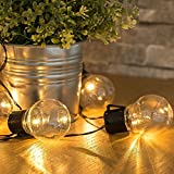 Easternstar Solar Globe String Lights with 10 Bulbs Led Outdoor String Lights Ball Fairy Lights 11.5ft Globe Waterproof Starry Lights Weatherproof Vintage Edison String Lights for Garden Patio Wedding Christmas Trees House Party and Holiday Decorations