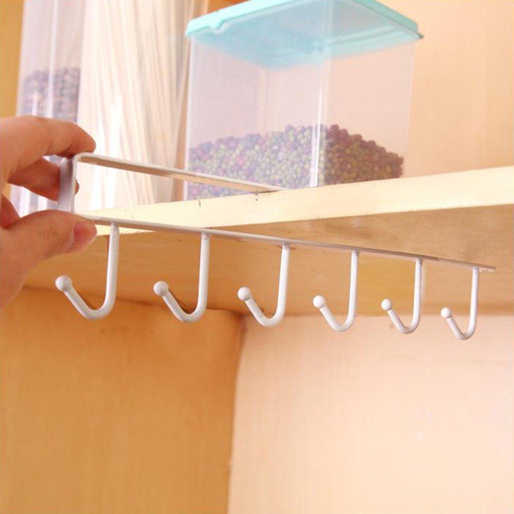 White Bluelans/® Mug Holder Under Shelf Cup Hanger Drying Rack 6 Hooks Tie Hanger Towel Holder Organizer Storage for Cabinet Kitchen Cupboard Bathroom