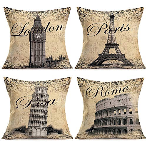 ShareJ World Famous Building Cotton Linen 4 Pack...