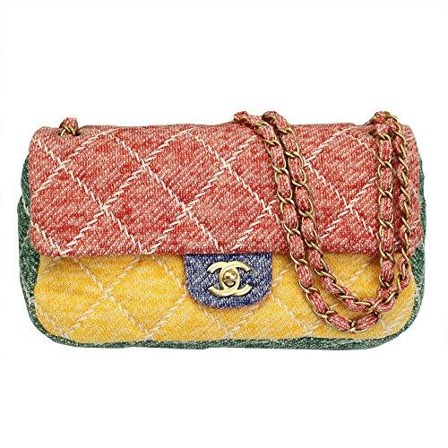 Chanel Women's Multicolor Jersey Flap Chain Shoulder Bag - Chanel Shoulder Bag