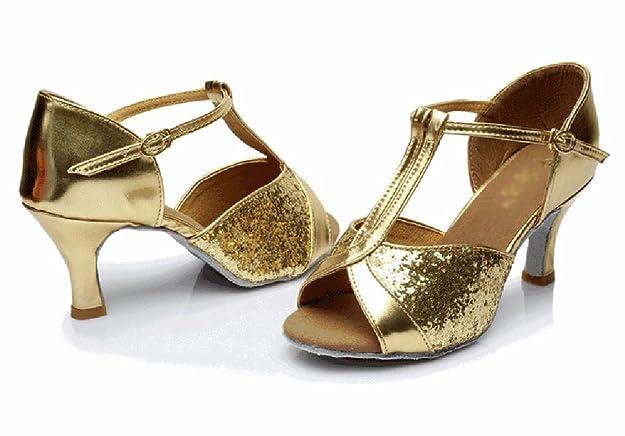 WYMNAME Womens Scarpe da Ballo Latino,Pattini di Dancing Sandalo Scarpe da Ballo-la Pelle Chiara Longitud del PIE=22.3CM(8.8Inch)