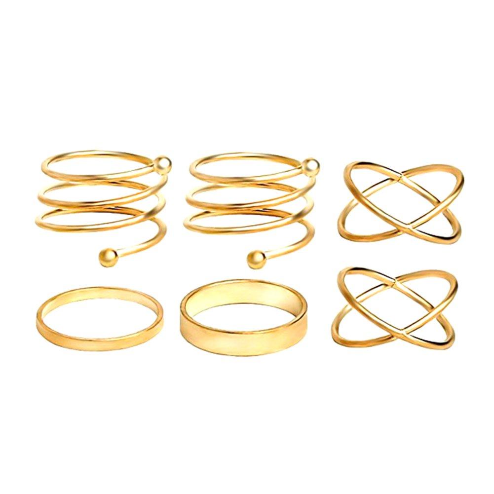 Cougar's Choice 6pcs Stack Rings Glod Plated Ring Knuckle Nail Ring Set Cougar' s Rings pdjrings00008-silver