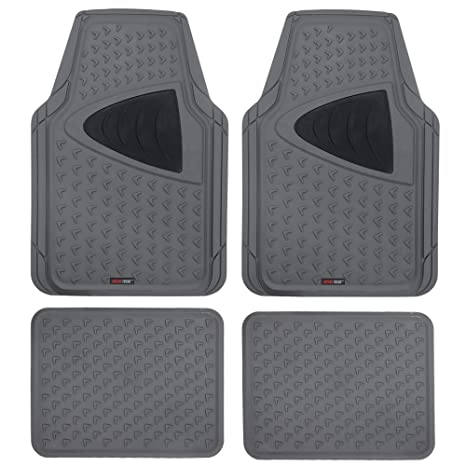 Motor Trend Mt644gramw1 Gray Eco Clean Car Rubber Floor Mats 100 Odorless 2 Tone Color Trimmable Fit 4 Piece Set