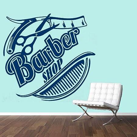 zhuziji Hair Salon Wall Vinyl Sticker Barber Shop Logo Sign ...