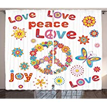 Ambesonne 1960s Decorations Collection, Flower Power Sunlights Sunny Love Peace Joy Floral Spring and Festival Wreath Design, Living Room Bedroom Curtain 2 Panels Set, 108 X 84 Inches, Red Pink