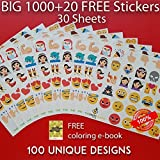 SUPERIOR QUALITY Big Emoji Sticker Jumbo Pack of 1000+20 FREE Stickers. 30 Sheets. 100 New 2016 Design. Reusable Emoji Shape iPhone Stickers 2
