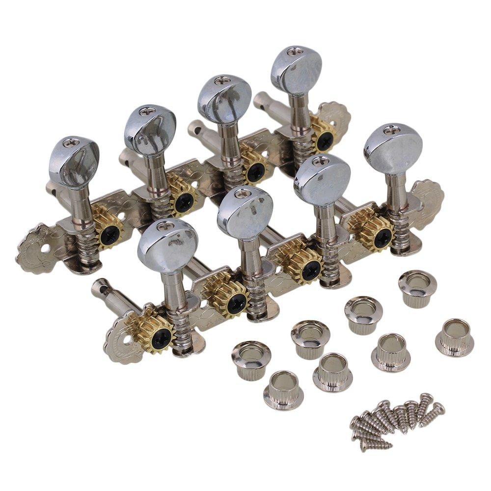 BQLZR Silver Oval Button Chrome Plated Zinc Alloy 4L+4R 8 String Guitar Tuning Keys Pegs Machine Head Tuner for Mandolin Guitar Pack of 2 N21887