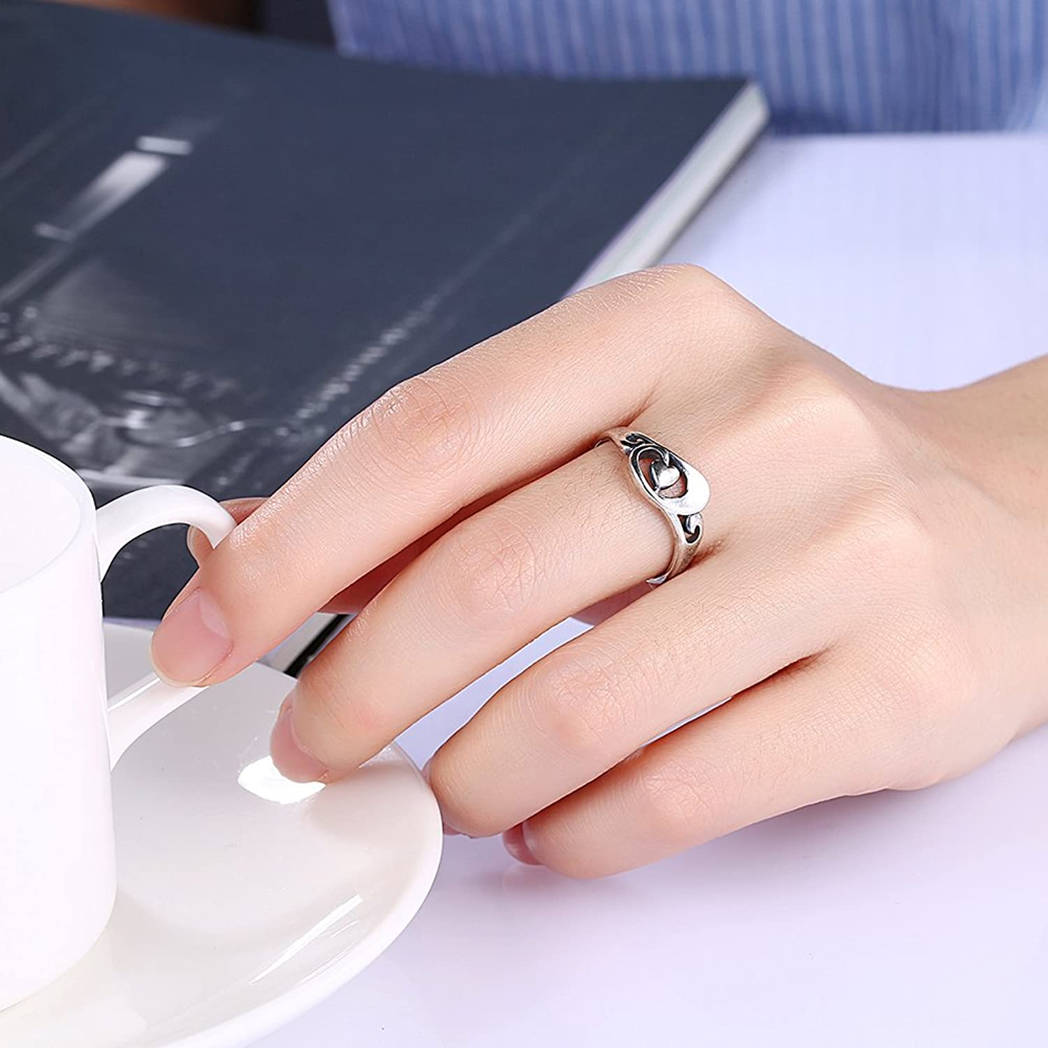 Amazon.com: Fashion Unique Antique Silver Wedding Rings With Hollow ...